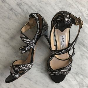 Jimmy Choo Lottie Black and White Woven Sandals
